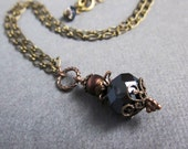 midnight blue and bronze pendant - the alina necklace
