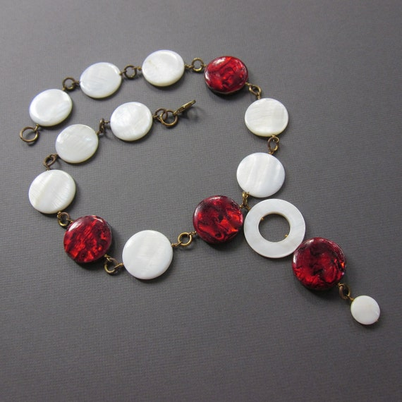 gold red and white 60s discs - the farrah necklace