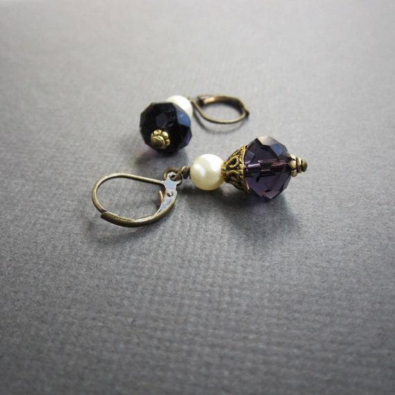 purple crystal and pearl dangle - the mia earrings