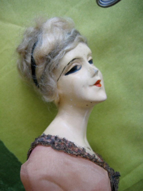 Boudoir half doll lamp shade. 1920's Dimpled face wax over composition face.  For restoration.
