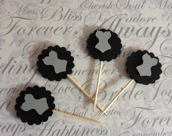 Black and Silver Corset Food Picks and Basic Cupcake Toppers