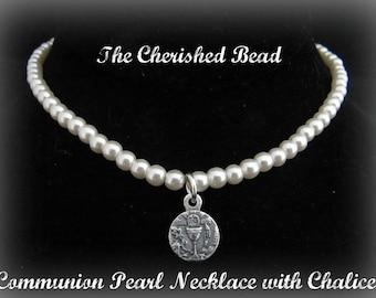 First Communion Chalice Swarovski Pearl Necklace