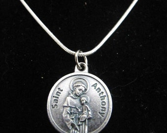 Catholic Silver St Anthony Necklace with Prayer