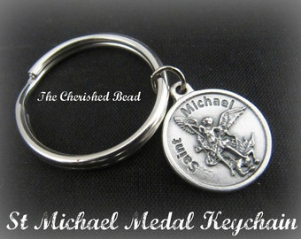 St Michael Catholic Medal Keychain
