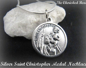 Silver Saint Christopher Medal Necklace with Prayer