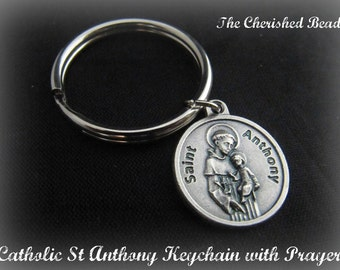 Catholic St. Anthony Medal Keychain with Prayer
