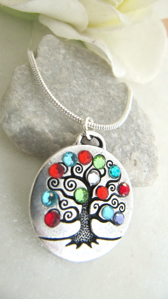 Family Birthstone Tree of Life Necklace - Personalized