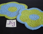 Lime green and sky blue flower hotpads - set of two