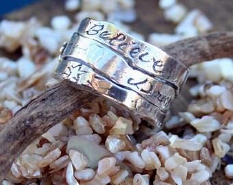 "Ring Handmade Three Piece ""Believe Dreams Happen"" Sterling silver"