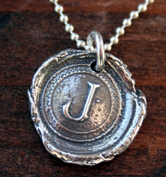 Sterling Silver Initial Seal Necklace