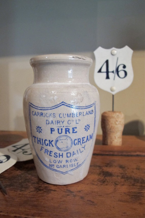 Carricks Dairy Cream Jar from England Circa 1900