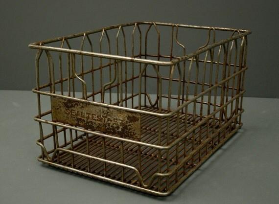 Large Vintage Metal Seal Test 57 Dairy Crate