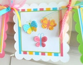 Butterfly Age Banner, Butterfly Birthday Banner, Girl Birthday Banner, Fully Assembled Banner