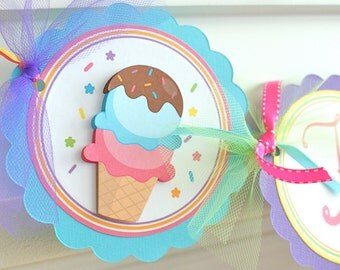 Ice Cream Birthday, Name Banner with Age