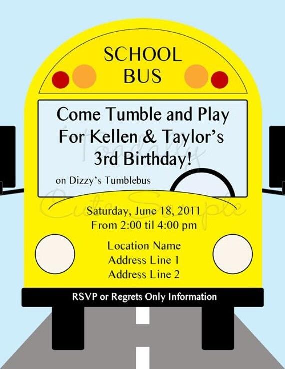 yellow school bus birthday invitations tumble bus by