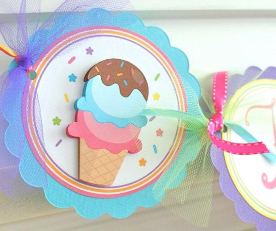 Ice Cream Party Name Banner, Ice Cream Birthday Banner, Ice Cream Party Decorations