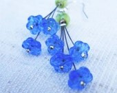 Bouquet of forget-me-nots ... glass bead earrings