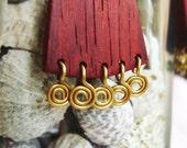 Queen of Autumn - wooden earrings with brass swirls
