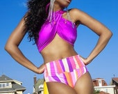 Fuchsia High Waist Two Piece