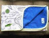 graphic green and black bird print summer swaddler