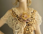 RoseRains Stunning Hand Crochet Pineapple Floral Scarf Shawl Poncho Beige and Tan With Satin Rose Pin
