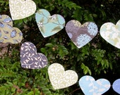 Party Decoration Garland  / Bunting - Paper Hearts in eggplant, blue, green, cream