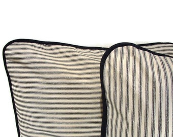 16x16 Black/Cream Striped Mattress Ticking Pillow Sham  - Cushion Cover