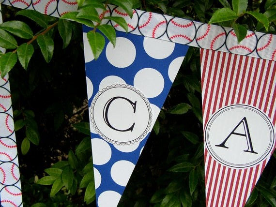 Sports Theme Birthday Party Banner -  Bunting - Custom Name - Personalized