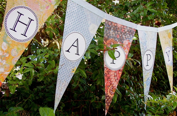Happy Birthday Party Banner / Garland / Bunting / Pennant Mustard Yellow, Pale Blue, Deep Reds