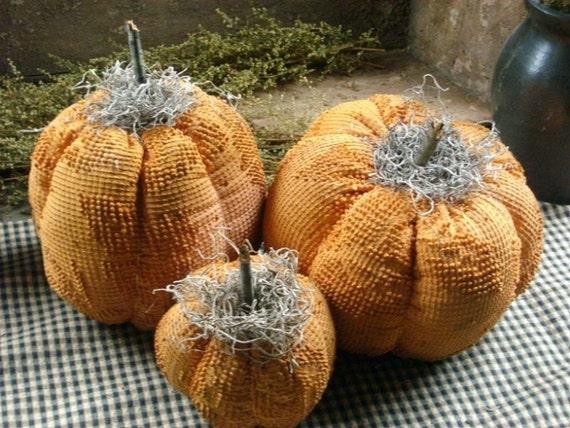 3 Primitive vintage Chenille Pumpkins
