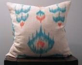 Teal and Orange Ikat Pillow