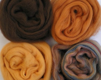 """Merino Wool for Wet Felting or Spinning   2oz. Pack of Assorted Colors """"Autumn Harvest"""""""