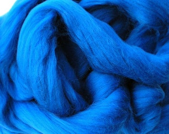 "Ashland Bay Solid Colored Merino for Spinning or Felting ""Blue""  4 oz."