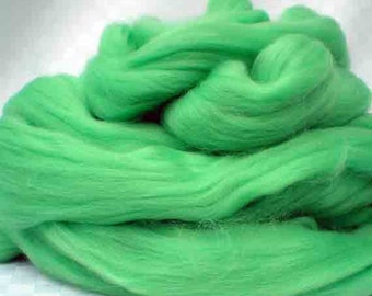 "Ashland Bay Solid Colored Merino for Spinning or Felting ""Lime""  4 oz."