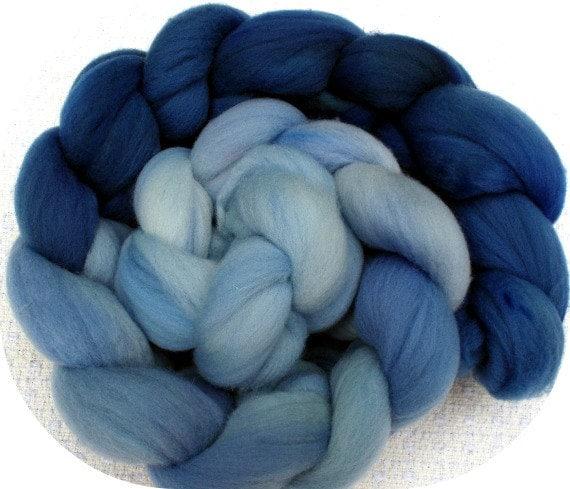 Rambouillet Combed Top 4 Oz.  Fibonacci Gradient Wedgewood Blue