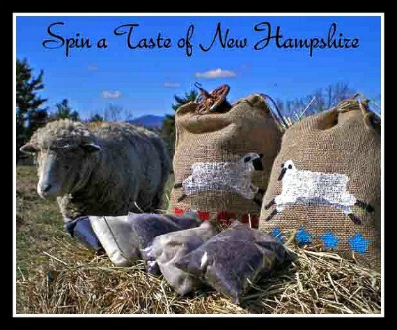 New Hampshire Grown Roving Sampler Pack - 5 Ounces with Hand Stenciled Rustic Bag