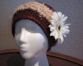 Womens- girls versitile cap-slouchy hat-cinnamon-beige-flower-fall-winter