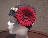 SALEWomens-girls hand crochet versitile cap-slouchy hat,dark grey, white, red flower, vintage style-WAS 25 NOW 18.75
