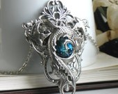 Celestial Maelstrom Aged Silver & Swarovski Necklace - Pendant - Fantasy - Blue - Wedding - Winter - Valentines Day - Bridal - Unique
