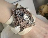 Eulia Aged Silver, Swarovski and Bridal Cuff - Crystal - Pearl - Ivory - Victorian - Floral - Wedding - Bridal