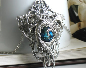 Aged Silver & Swarovski Necklace - Pendant - Mermaid - Fantasy - Blue - June Wedding - Summer - Bohemian - Unique - Graduation - Bridal