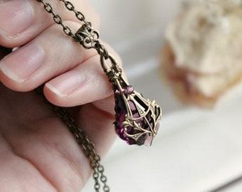 Brass Swarovski Necklace - Amethyst - Purple - Victorian - Fantasy Winter Wedding - Bridal - Holidays - December - Christmas