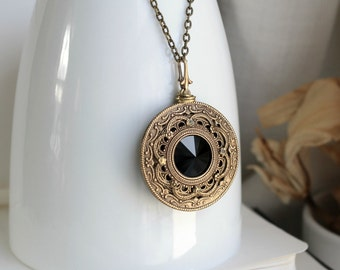 Apothecary Aged Brass and Swarovski Necklace - Black - Dark - Noir - Steampunk - Gothic - Fantasy - Magic - Mothers Day - Unique - Bridal