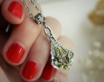 Silver & Swarovski Necklace - Crystal - Rainbow - Victorian - Unique - Winter Wedding - Bridal - December - Christmas