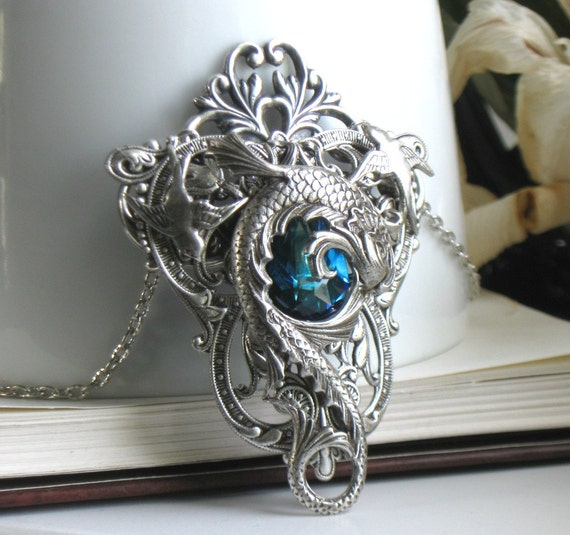 SALE o Celestial Maelstrom Aged Silver & Swarovski Necklace - Pendant - Fantasy - Blue - Water - Wedding - Bridal - Dragon - Summer - Unique