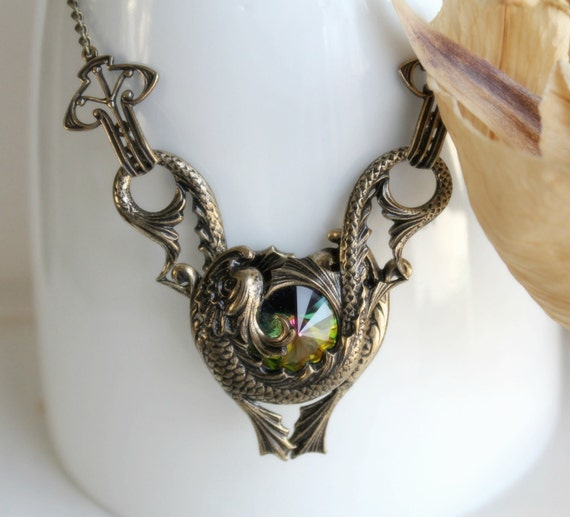 FREE SHIPPING o The Chelsea Affinity Swarovski and Aged Brass Necklace - Rainbow - Fantasy - Nautical - Bridal - Dragon - Pisces