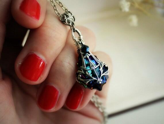 Mariah Aged Silver and Swarovski Necklace - Blue - Indigo - Aqua - Rainbow - Victorian - Nouveau - Summer - Wedding - Bridal