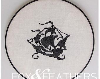 Pirate Ship PDF Cross Stitch Pattern