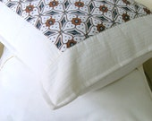 Black and White Java Batik Quilted Pillow Covers, Set of 2, 16 x 16 inches