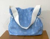 Light Blue Denim Shoulder Bag with White Strap, Blue Jeans Tote Bag, Cotton Daily Bag, Market Tote Bag